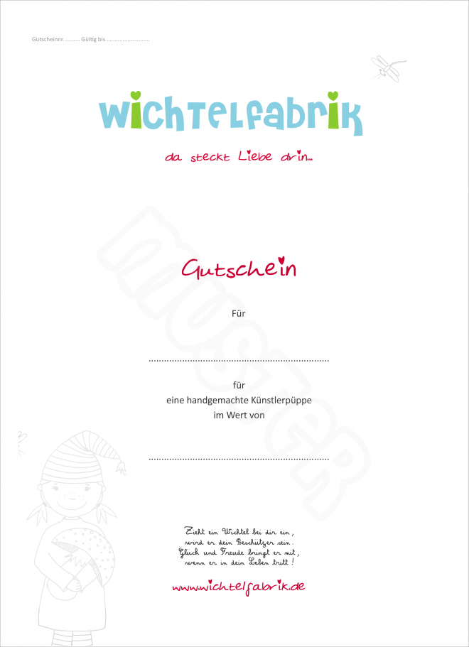 Gutschein, Geschenk, Geschenkgutschein, Wichtel, Wichtelfabrik, Puppe, Glückswichtel